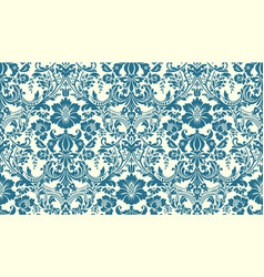 Seamless damask pattern blue and ivory image vector