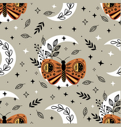 Seamless pattern with bohemian butterfly vector