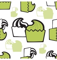 Seamless pattern with hand drawn ice cream or vector