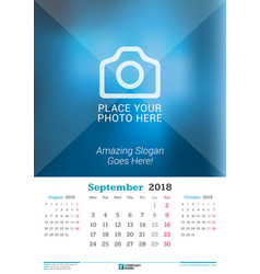september 2018 wall monthly calendar for 2018 vector image