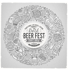 Set beer fest cartoon doodle objects round vector