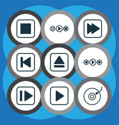 set of 9 audio icons includes gramophone vector image