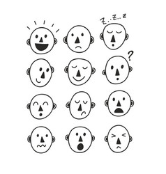 set of funny cartoon faces vector image