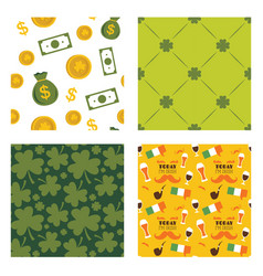 set of seamless background patterns for st vector image