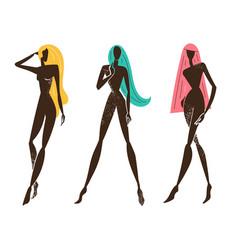 Set stylized women standing long hair vector
