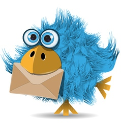 shaggy blue bird with envelope vector image