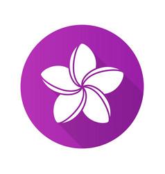 spa salon plumeria flower flat design long shadow vector image