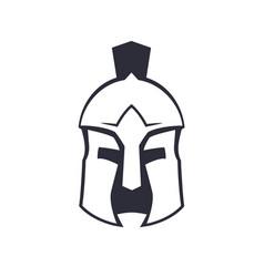 Spartan greek helmet over white vector