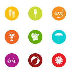 summer day icons set flat style vector image