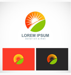 Sun shine ecology nature logo vector