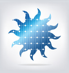 Sun with solar panels texture vector