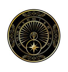 sundial golden silhouette vector image