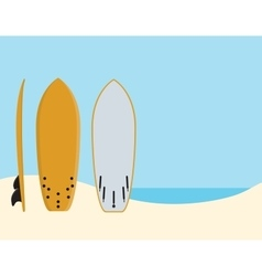 surf surfing board stand near beach with sea and vector image
