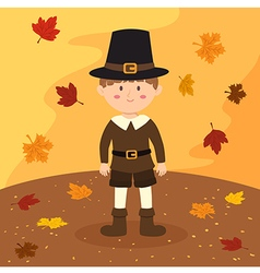 Thanksgiving Pilgrim Boy Cartoon vector