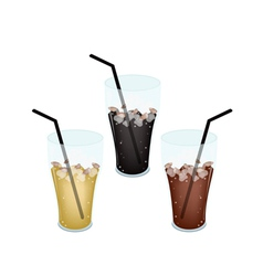 Three Kind of Iced Coffee in Glass vector