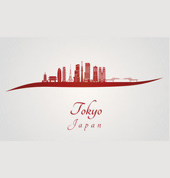 Tokyo v3 skyline in red vector