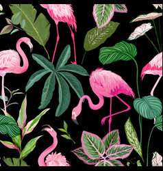 tropical print with pink flamingo and palm leaves vector image