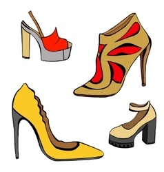 woman shoes set vector image