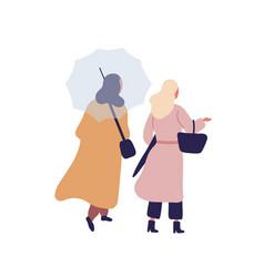 Women with umbrella flat vector