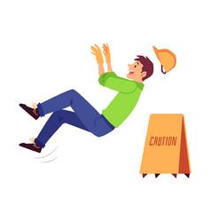 Work injury a man builder a worker in a helmet vector