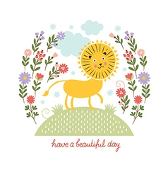 cute lion and flowers vector image vector image