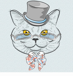 funny British cat hipster vector image