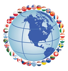 globe with flag icons vector image