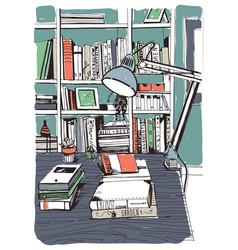 Modern interior home library bookshelves hand vector