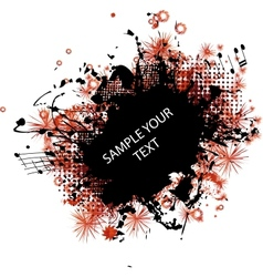 music grunge frame red vector image vector image