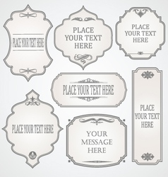 Set of frames calligraphic design vector image vector image