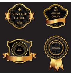 Set of golden decorative ornate black vector image vector image