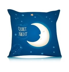 Square Pillow Design with Cartoon Sleeping Moon vector image