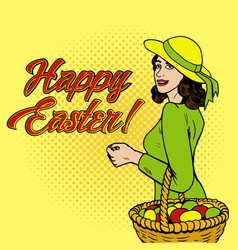 woman with eggs in the basket pop art vector image