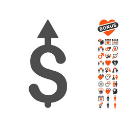business growth icon with love bonus vector image vector image
