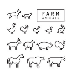 farm animals silhouettes outline vector image vector image