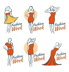 Fashion and beauty logos with woman vector image vector image