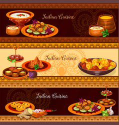 indian cuisine traditional food banner set vector image