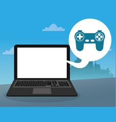 laptop console control bubble social media city vector image vector image