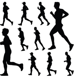 runner silhouette run vector image vector image