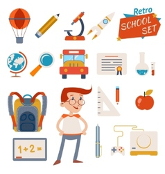 School Icon Set Graphic Designs on White vector image vector image