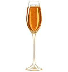 Champagne in tall glass vector image vector image