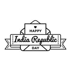 india republic day greeting emblem vector image vector image