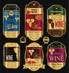 luxury golden wine labels collection vector image vector image