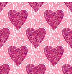Seamless pink heart pattern vector image vector image
