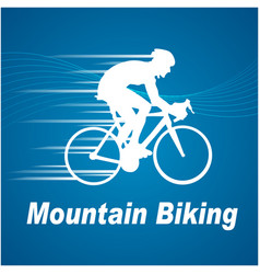 sport mountain biking blue background image vector image