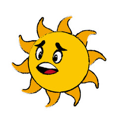 Sun cartoon mascot character facial expression vector