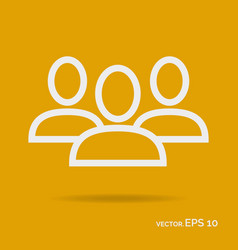 team people outline icon white color vector image