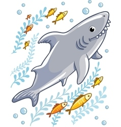 Cartoon shark in the sea surrounded by little fish vector image vector image
