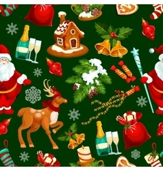 Christmas and New Year holidays seamless pattern vector image
