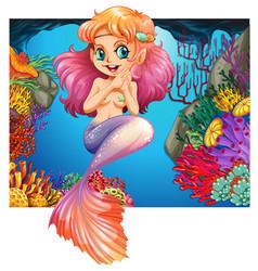 cute mermaid swimming under the sea vector image